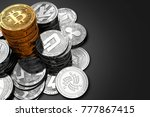 big pile of bitcoin and smaller ... | Shutterstock . vector #777867415