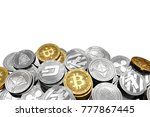 stack and piles of bitcoin and... | Shutterstock . vector #777867445