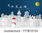 paper art landscape of... | Shutterstock .eps vector #777873724