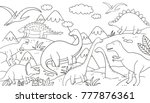 dinosaur coloring page | Shutterstock .eps vector #777876361
