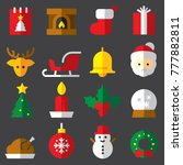 christmas 2017 flat icons eps10 | Shutterstock .eps vector #777882811