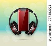 image headphones on smartphone... | Shutterstock .eps vector #777883021