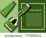 green cosmetic products on two... | Shutterstock .eps vector #777890311