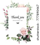 floral frame with leaves.... | Shutterstock . vector #777890467