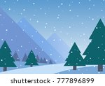 snow falling in forest  | Shutterstock .eps vector #777896899