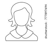female user icon. thin line...