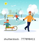 happy man with kids sledding in ... | Shutterstock .eps vector #777898411