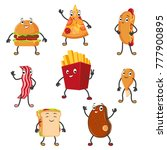 set of funny fast food... | Shutterstock .eps vector #777900895