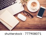 top view with copy space ... | Shutterstock . vector #777908071