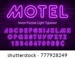 neon light alphabet  realistic... | Shutterstock .eps vector #777928249