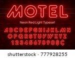 neon light alphabet  realistic... | Shutterstock .eps vector #777928255