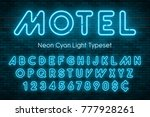 neon light alphabet  realistic... | Shutterstock .eps vector #777928261