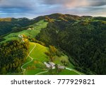 Aerial Shot Of Green Hills Of...