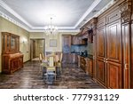 the kitchen is solid wood in a...   Shutterstock . vector #777931129