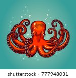 octopus engraving. vintage... | Shutterstock .eps vector #777948031