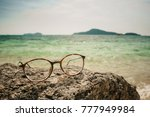 glasses for vision lie on a... | Shutterstock . vector #777949984