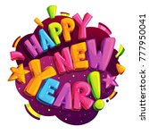 happy new year vector logo.... | Shutterstock .eps vector #777950041