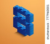 blue number eight from lego... | Shutterstock .eps vector #777960001