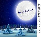 reindeer in harness with sleigh ... | Shutterstock .eps vector #777960727