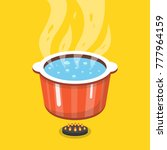 boiling water in pan. cooking... | Shutterstock .eps vector #777964159