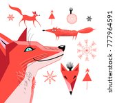 set of graphics of a red fox on ... | Shutterstock .eps vector #777964591