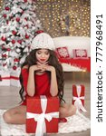 christmas manicure. brunette...   Shutterstock . vector #777968491