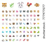 all animals emojis  emoticons ... | Shutterstock .eps vector #777977077