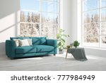 white room with sofa and winter ... | Shutterstock . vector #777984949