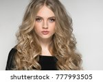 blonde woman beautiful portrait.... | Shutterstock . vector #777993505