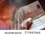 euro banknotes in man hand... | Shutterstock . vector #777997045
