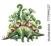 watercolor stegosaurus with...   Shutterstock . vector #777999127