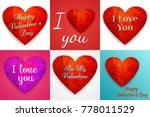 valentine background. polygonal ... | Shutterstock .eps vector #778011529
