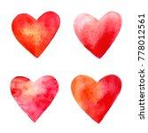 watercolor vector hearts. set... | Shutterstock .eps vector #778012561
