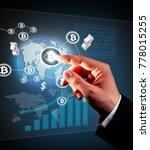 digital scheme with businessman ...   Shutterstock . vector #778015255