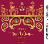 indian wedding invitation card... | Shutterstock .eps vector #778018381