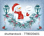 christmas card with funny... | Shutterstock .eps vector #778020601