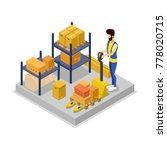 warehouse management isometric... | Shutterstock .eps vector #778020715