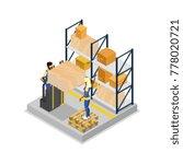 warehouse logistics isometric...   Shutterstock .eps vector #778020721