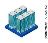 data centre with server racks... | Shutterstock .eps vector #778021561