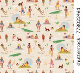 seamless pattern. summer... | Shutterstock .eps vector #778022461