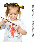 beautiful little girl with a t-shirt in the paint - stock photo