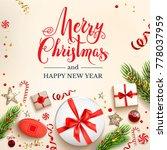 green fir tree branches on... | Shutterstock .eps vector #778037959