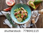 Salad With Avocado  Shrimps An...