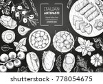 italian food top view. a set of ... | Shutterstock .eps vector #778054675