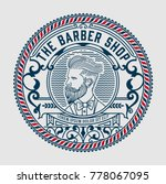 barber shop logo with hipster... | Shutterstock .eps vector #778067095