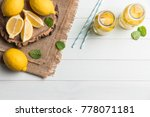 glass of homemade lemonade with ... | Shutterstock . vector #778071181