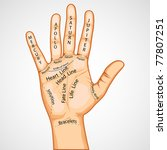 Illustration Of Palmistry Map...
