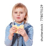 girl eating cheese sandwich... | Shutterstock . vector #778075129