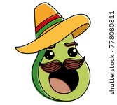 fresh avocado with mexican hat... | Shutterstock .eps vector #778080811
