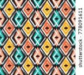 rhombus paint brush strokes... | Shutterstock .eps vector #778091611